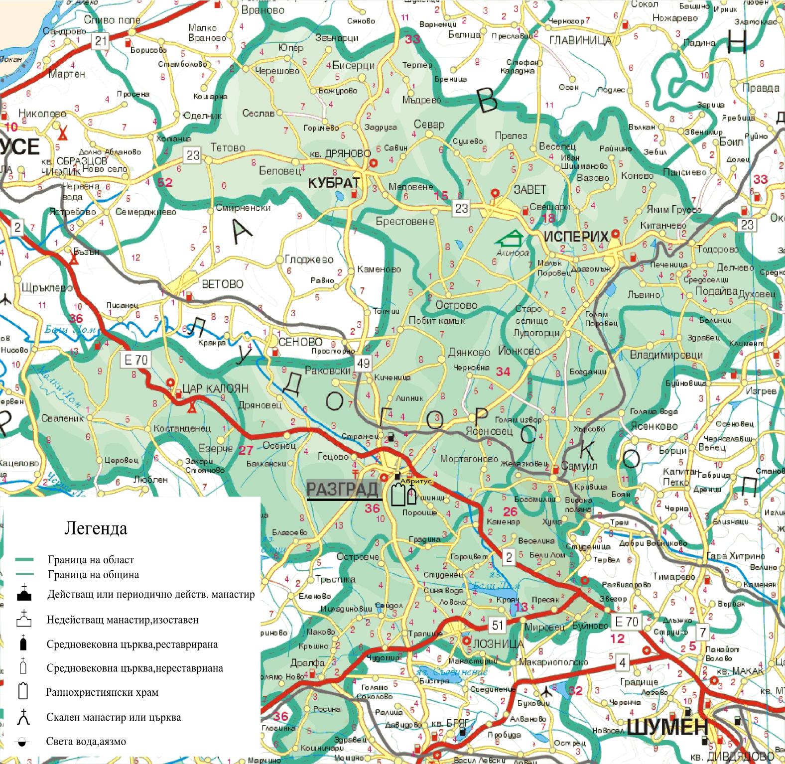 Karta 2019 Karta Na Oblast Razgrad