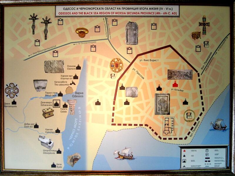 Схема на раннохристянски паметници от Одесос върху съвременната карта на Варна и Варненско