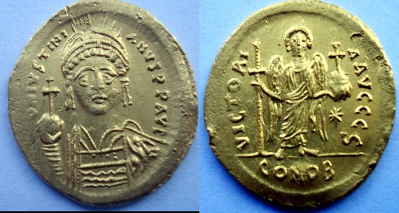 Солид на Юстиниан I Велики, отсечен в Константинопол между 542 и 565 г.