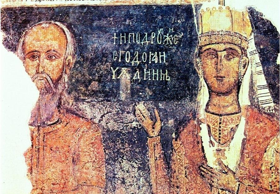 Ктиторски портрет на деспот Деян и съпругата му Доя в земенската черква