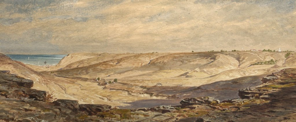Изглед от околностите на Каварна през 70-те години на XIX в., акварел на Феликс Каниц