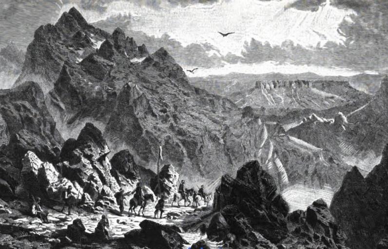 Русалиийският проход и връх Мара Гидик, картина на Феликс Каниц, 1871 г.