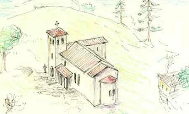 """Рисунка - възстановка на раннохристиянската базилика в м. """"Църковен рид"""" край с. Нова махала (по Петър Петров)"""