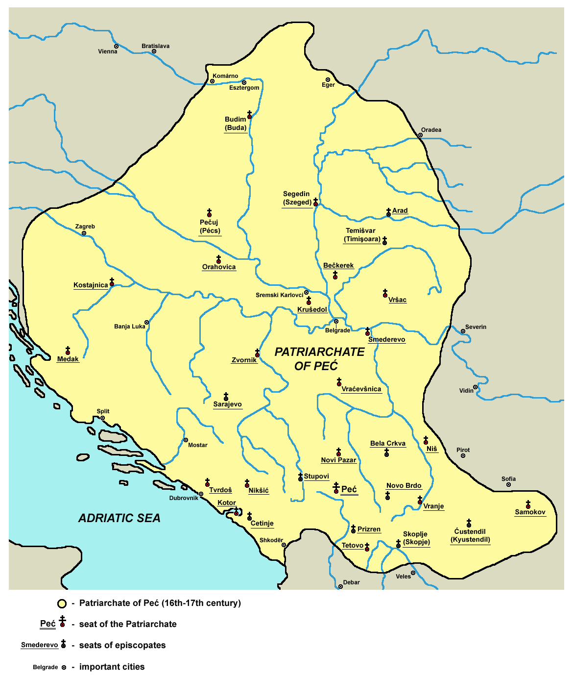 Териториален обхват на Печката архиепископия
