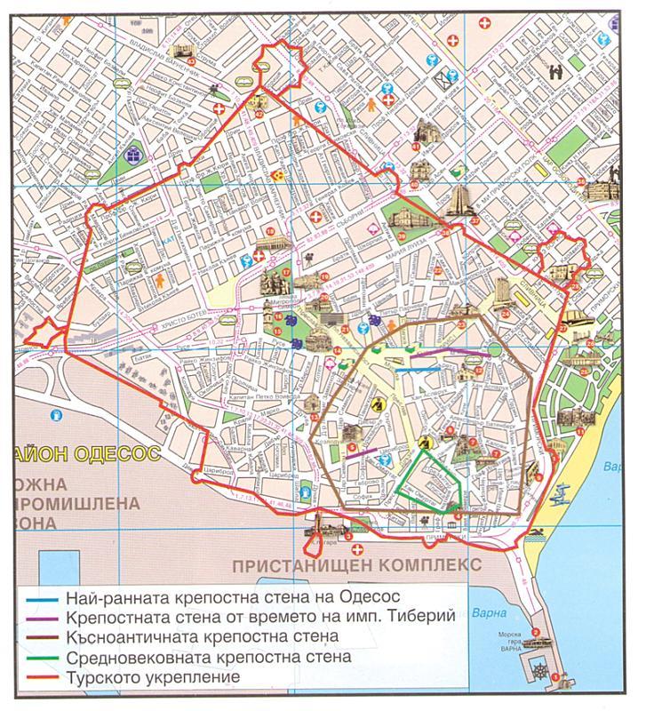 План на крепостната стена на Варна през различни исторически периоди