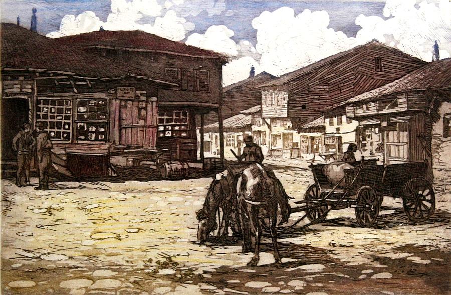 Старият пазар в Самоков, картина на Петър Морозов