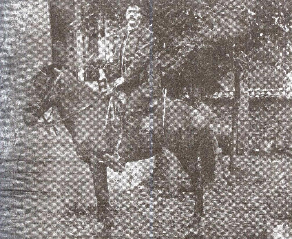Симеон Стойков след Освобождението като депутат, обикаля с кон избирателния си район