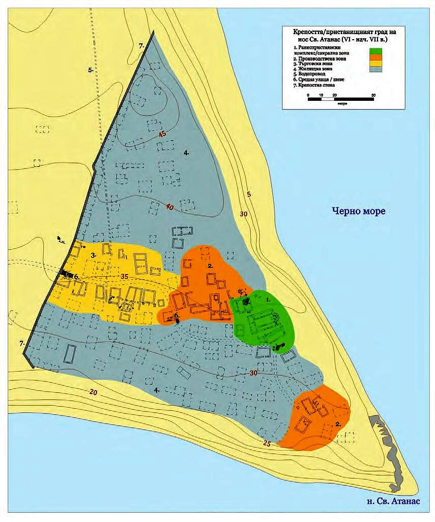 План на проучените зони в крепостта
