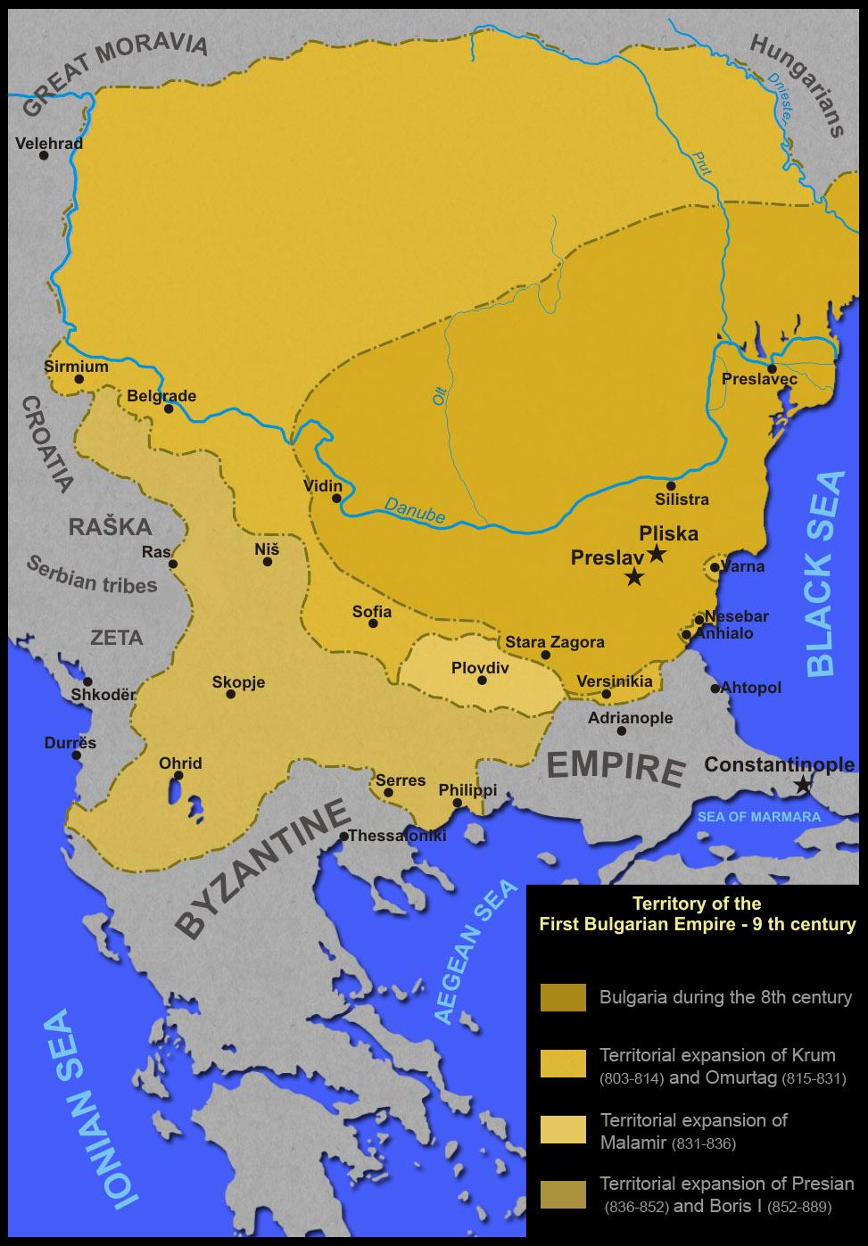 Карта на България през IX век