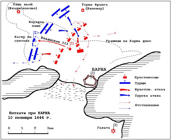 Схема на Варненската битка от 1444 г.