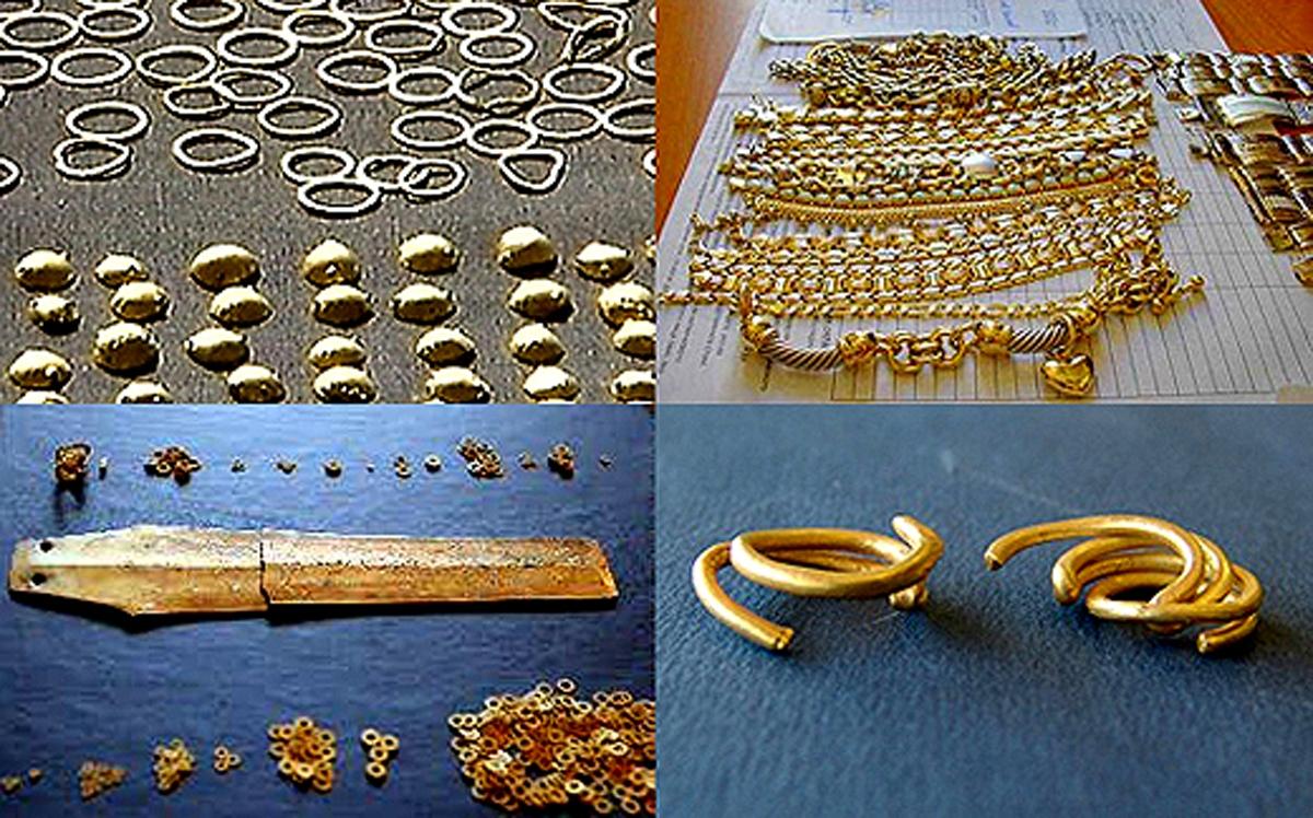 Детайли от златното съкровище разкрито край с. Дъбене