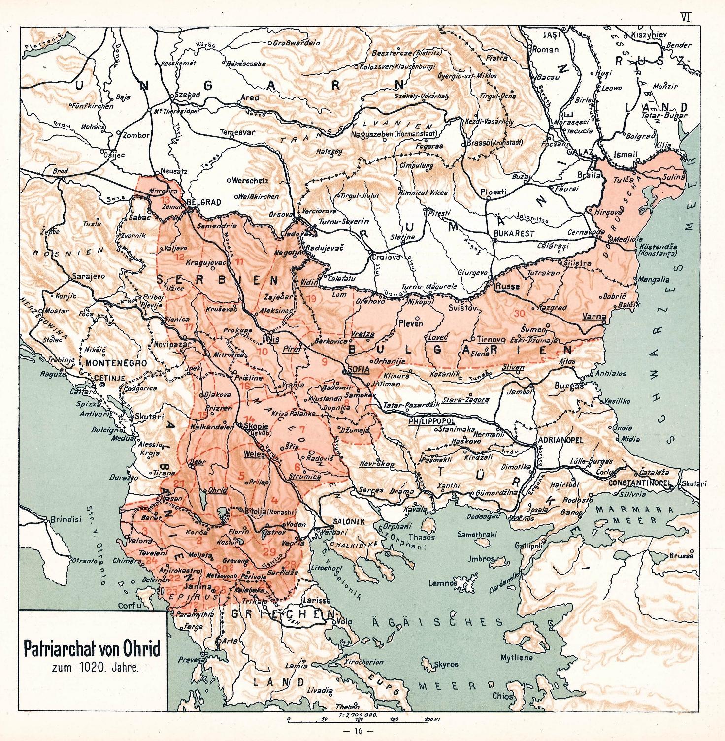 Епархии на Охридската архиепископия към 1020 година според Грамотите на император Василий II (карта на Димитър Ризов, 1917 г.)
