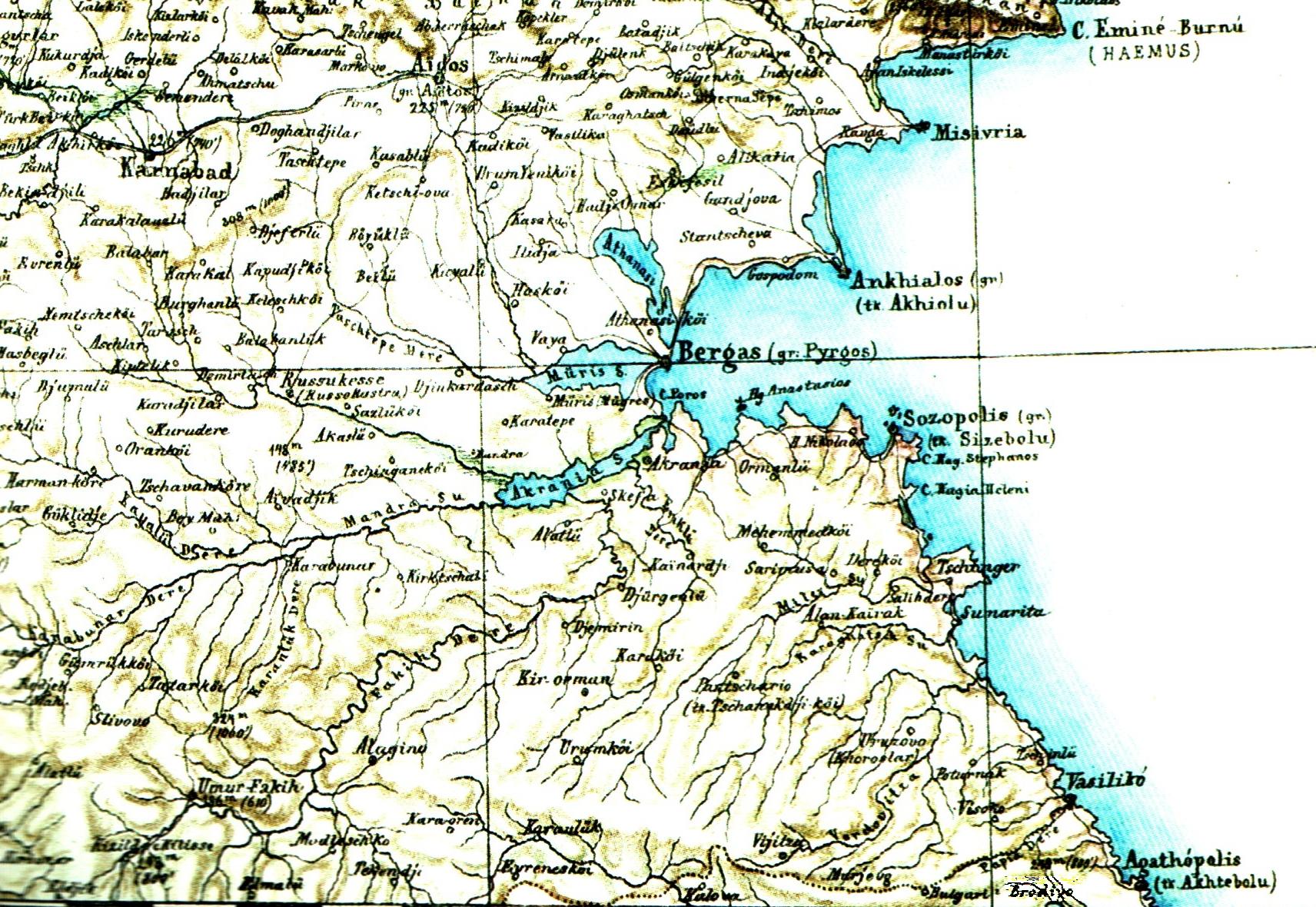 Част от картата ка Киперт, на която селото е отбелязано като Бродиво (долу вдясно)