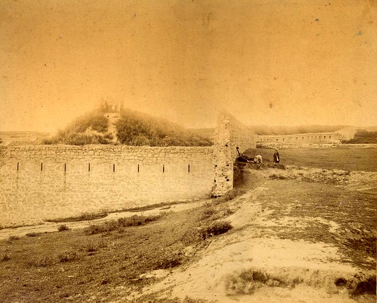 Останки от крепостната стена на Кадър баба табия, фотография от края на XIX в.